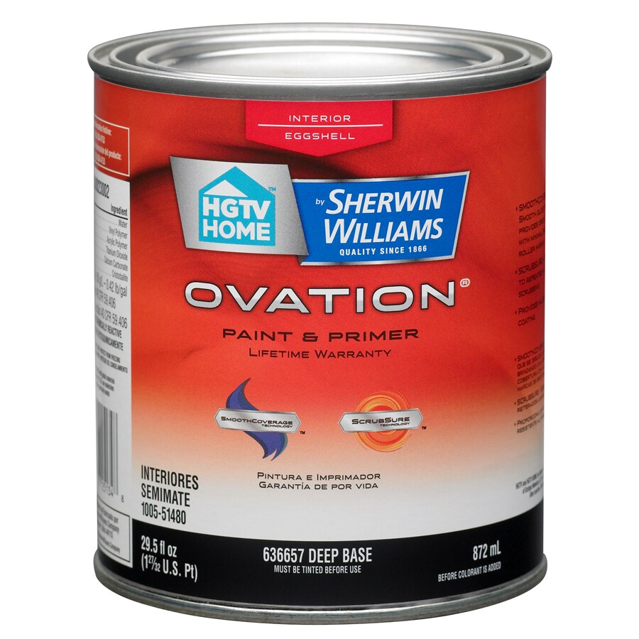 HGTV HOME by Sherwin-Williams Ovation Tintable Eggshell Latex Interior Paint and Primer in One (Actual Net Contents: 29.5-fl oz)