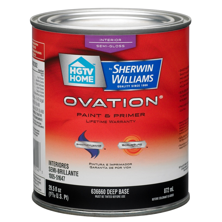 HGTV HOME by Sherwin-Williams Ovation Tintable Semi-gloss Latex Interior Paint and Primer in One (Actual Net Contents: 29.5-fl oz)