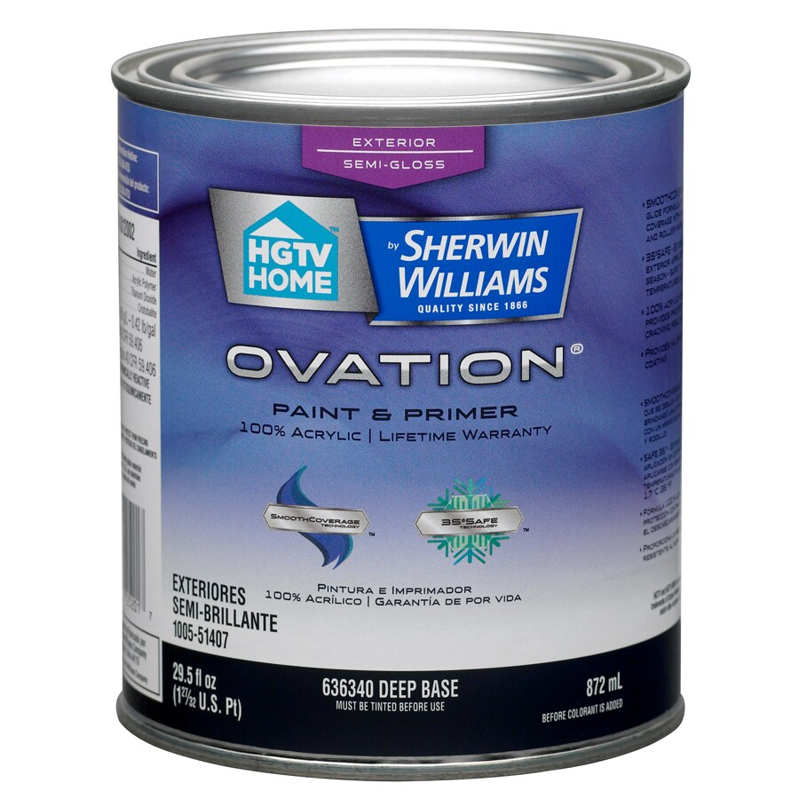 HGTV HOME by Sherwin-Williams Ovation Tintable Semi-Gloss Latex Exterior Paint (Actual Net Contents: 29.5-fl oz)