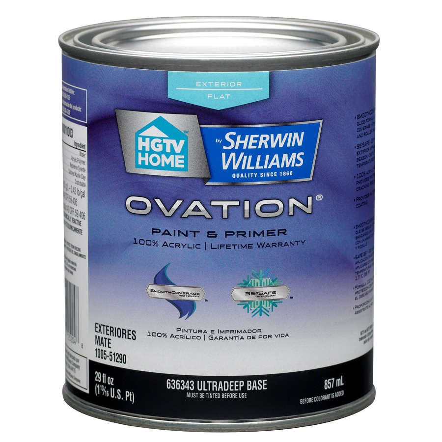 Shop hgtv home by sherwin williams ovation tintable flat latex exterior paint actual net - Exterior satin wood paint property ...