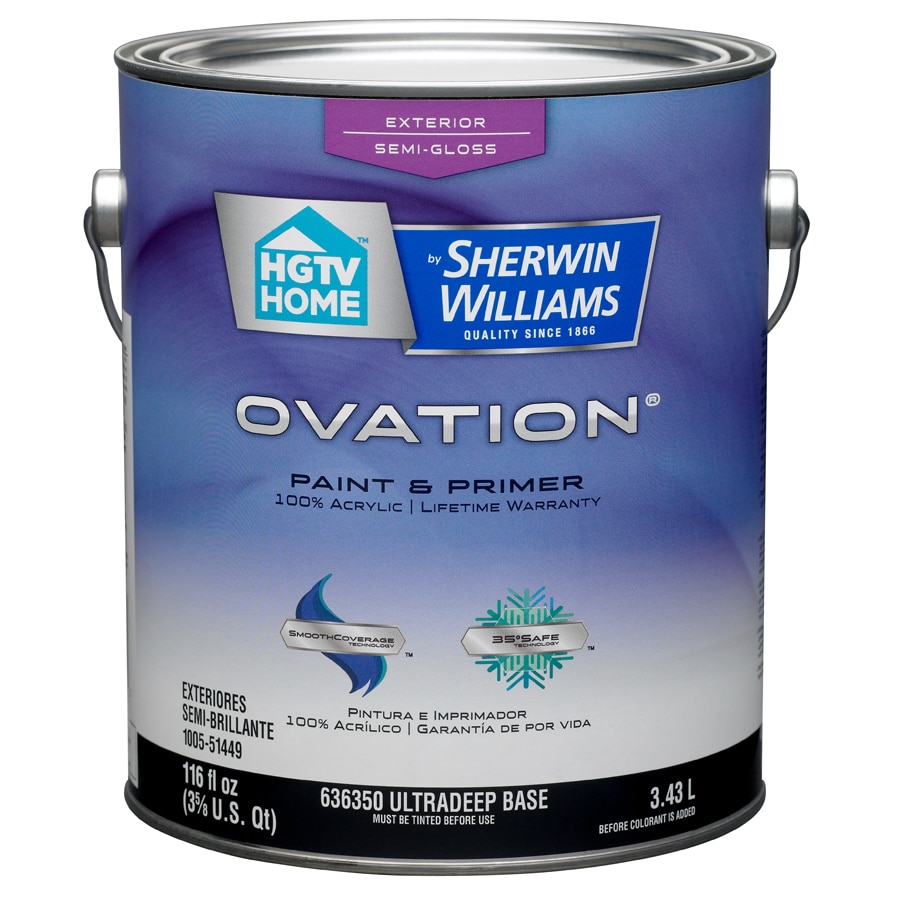 HGTV HOME by Sherwin-Williams Ovation Tintable Semi-Gloss Latex Exterior Paint (Actual Net Contents: 116-fl oz)