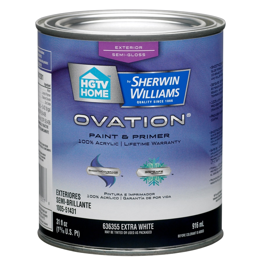 HGTV HOME by Sherwin-Williams Ovation Tintable Semi-Gloss Latex Exterior Paint (Actual Net Contents: 31-fl oz)