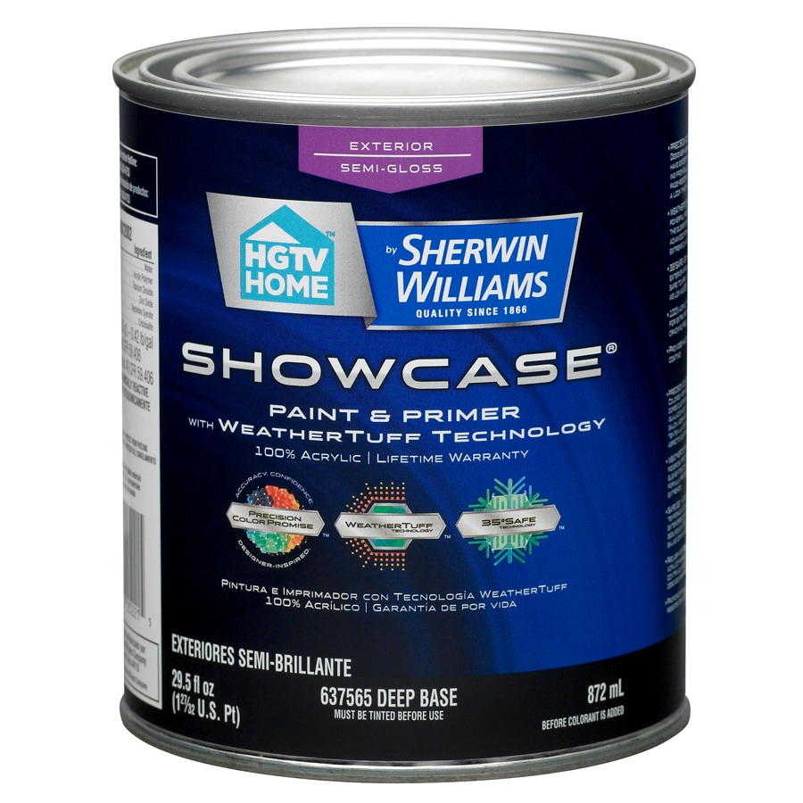 HGTV HOME by Sherwin-Williams Showcase Tintable Semi-Gloss Latex Exterior Paint (Actual Net Contents: 29.5-fl oz)