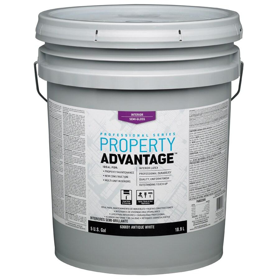 Property Advantage White Semi-Gloss Latex Interior Paint (Actual Net Contents: 640-fl oz)