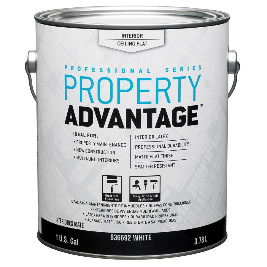 Property Advantage White Flat Latex Interior Paint (Actual Net Contents: 128-fl oz)