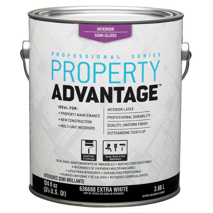 shop property advantage white semi gloss latex interior paint actual net contents 124 fl oz. Black Bedroom Furniture Sets. Home Design Ideas