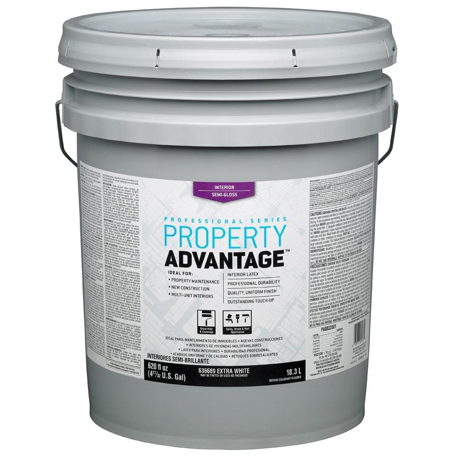 Property Advantage White Semi-Gloss Latex Interior Paint (Actual Net Contents: 620-fl oz)