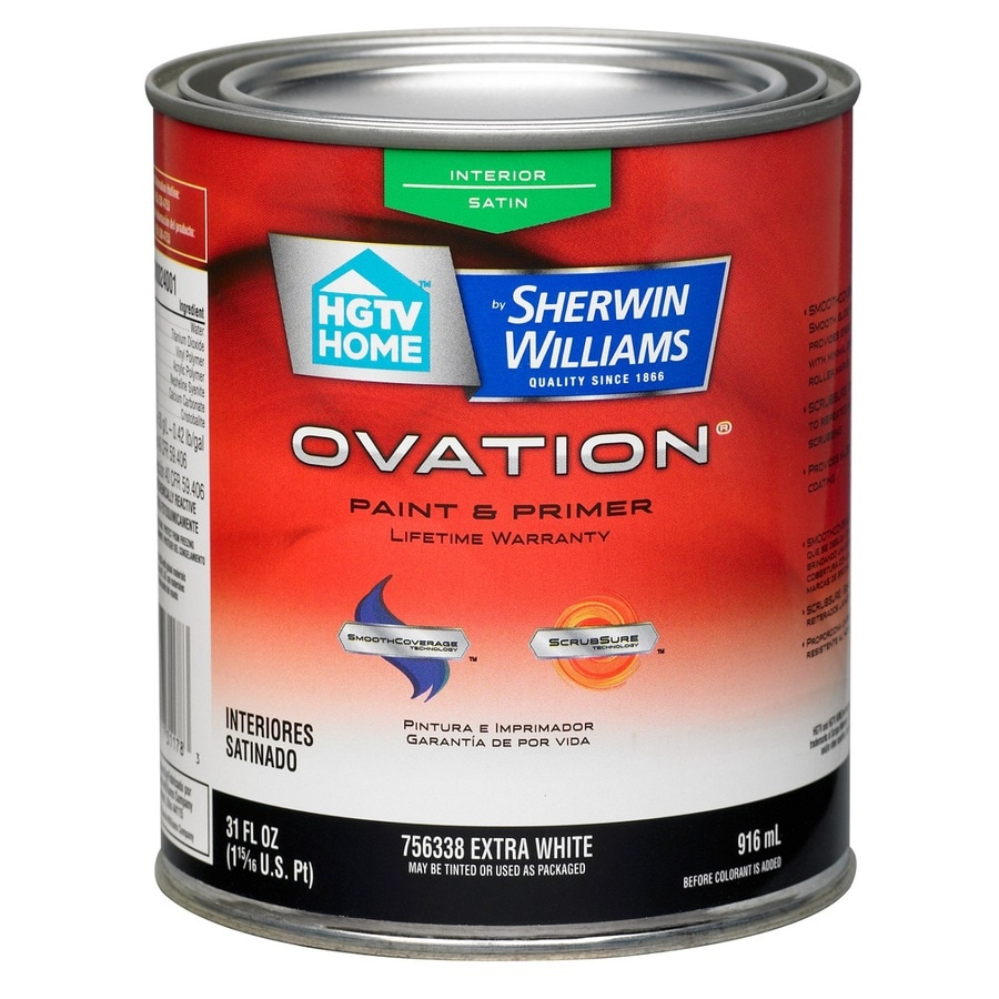 HGTV HOME by Sherwin-Williams Ovation Extra White Satin Latex Interior Paint and Primer in One (Actual Net Contents: 29.5-fl oz)