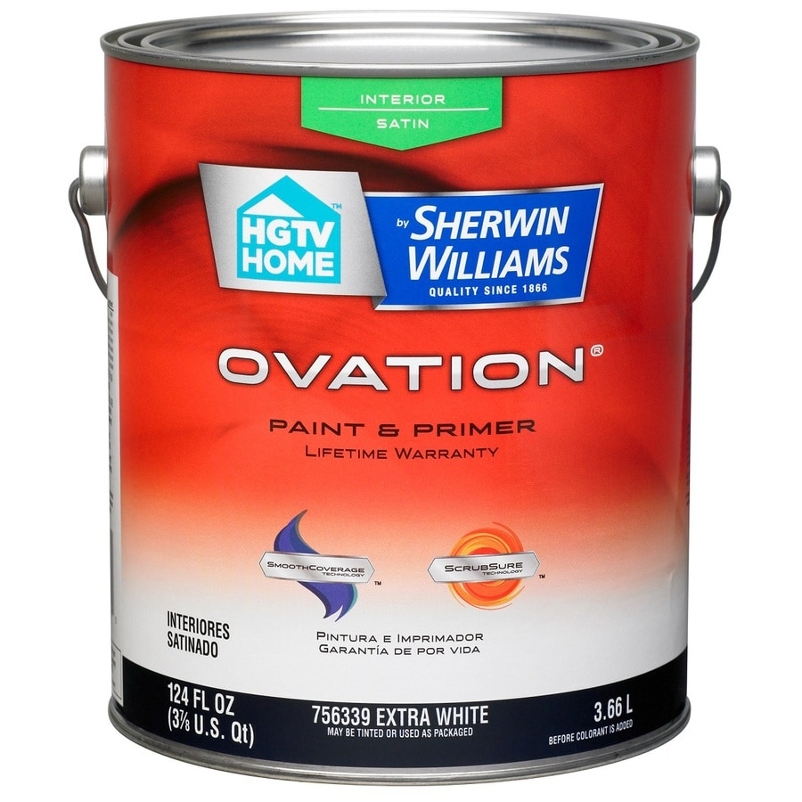 HGTV HOME by Sherwin-Williams Ovation Extra White Satin Latex Interior Paint and Primer in One (Actual Net Contents: 124-fl oz)