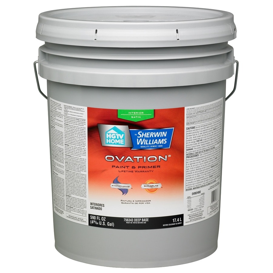 HGTV HOME by Sherwin-Williams Ovation Tintable Satin Latex Interior Paint and Primer in One (Actual Net Contents: 590-fl oz)