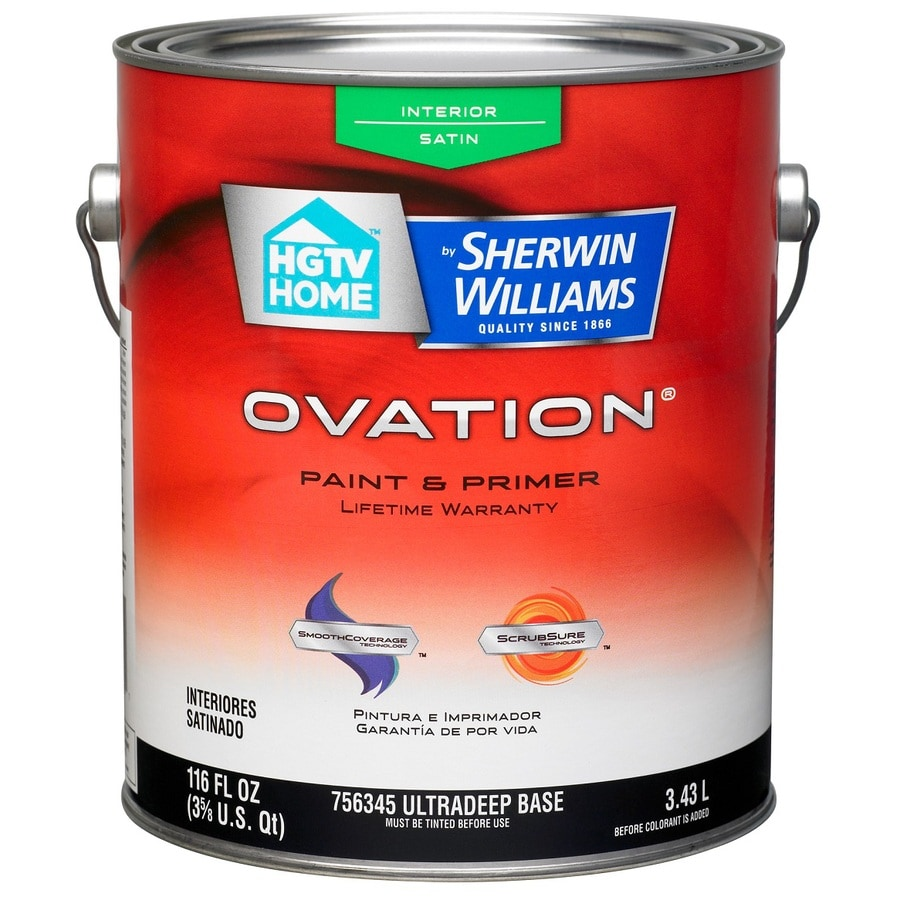 HGTV HOME by Sherwin-Williams Ovation Tintable Satin Latex Interior Paint and Primer in One (Actual Net Contents: 118-fl oz)