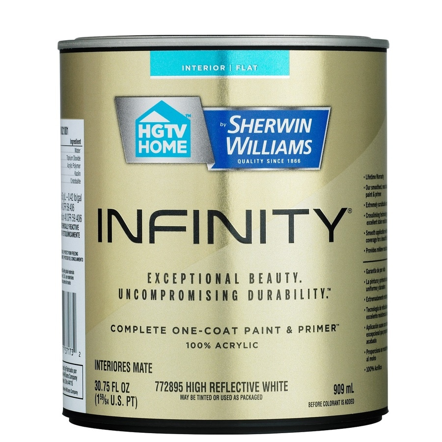 Shop Hgtv Home By Sherwin Williams Infinity White Flat Acrylic Interior Paint And Primer In One