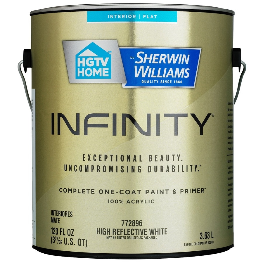 HGTV HOME by Sherwin-Williams Infinity White Flat Acrylic Interior Paint and Primer In One Paint (Actual Net Contents: 123 Fluid Oz.)