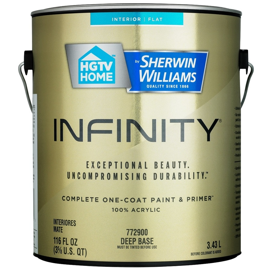 HGTV HOME by Sherwin-Williams Infinity Tintable Flat Acrylic Interior Paint and Primer In One Paint (Actual Net Contents: 116 Fluid Oz.)