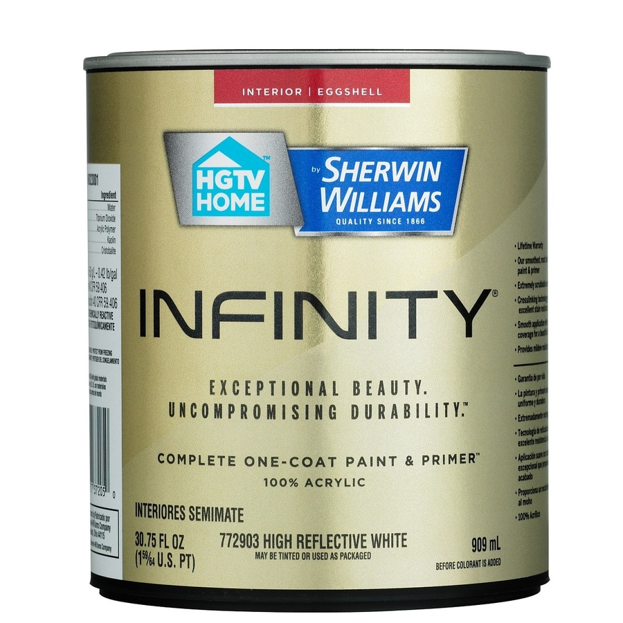 HGTV HOME by Sherwin-Williams Infinity White Eggshell Acrylic Interior Paint and Primer in One (Actual Net Contents: 30.75-fl oz)