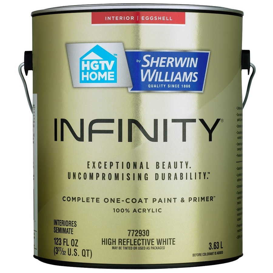 HGTV HOME by Sherwin-Williams Infinity White Eggshell Acrylic Interior Paint and Primer in One (Actual Net Contents: 123-fl oz)