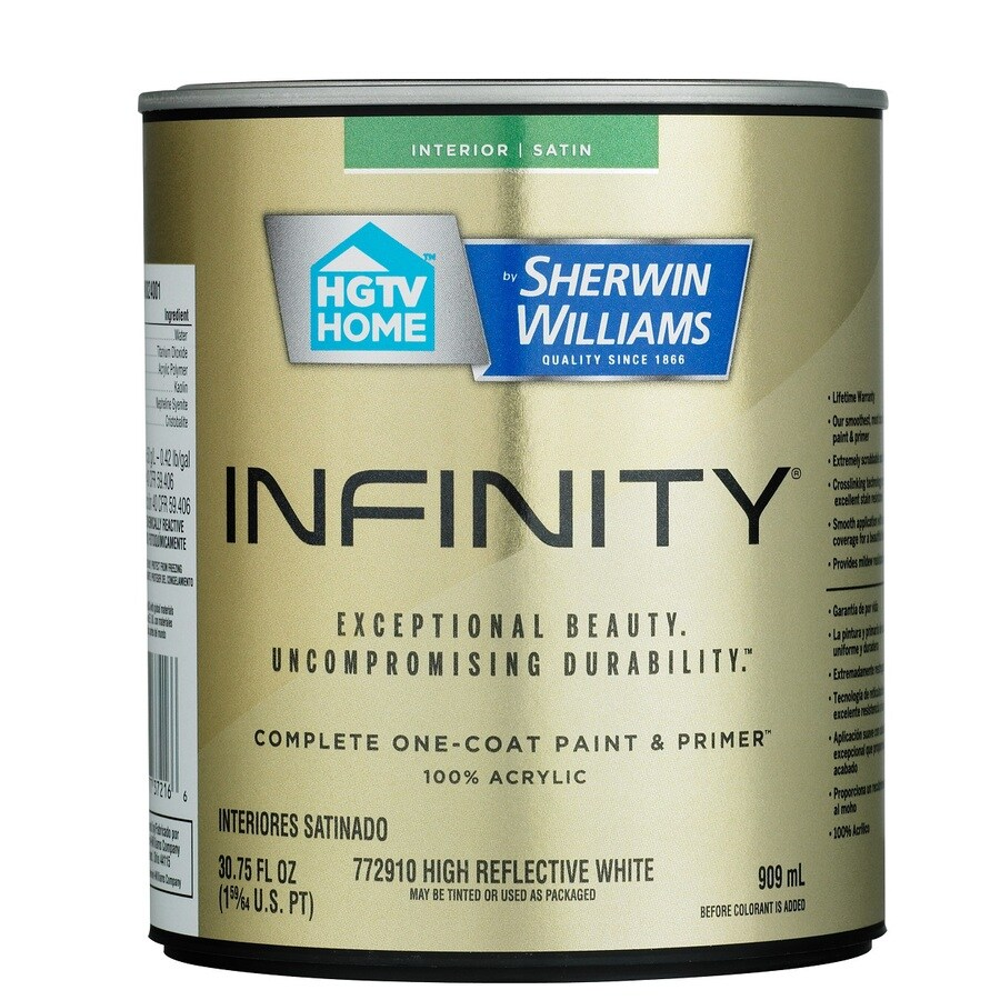 HGTV HOME by Sherwin-Williams Infinity White Satin Acrylic Interior Paint and Primer in One (Actual Net Contents: 30.75-fl oz)