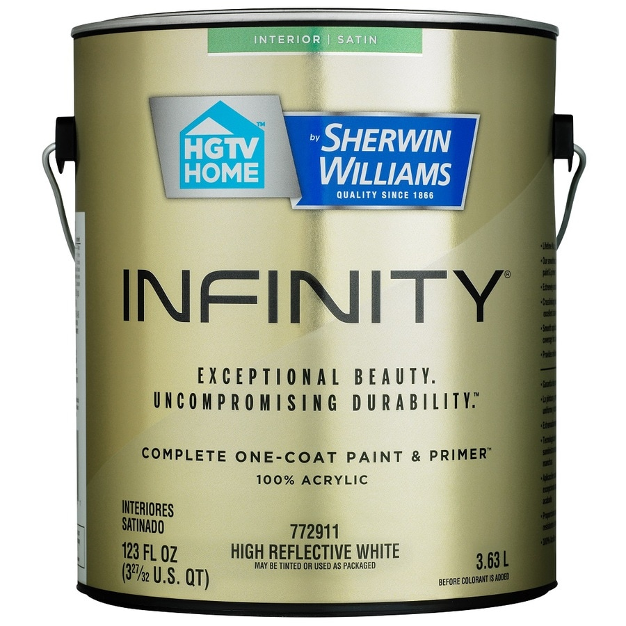 HGTV HOME by Sherwin-Williams Infinity White Satin Acrylic Interior Paint and Primer in One (Actual Net Contents: 123-fl oz)