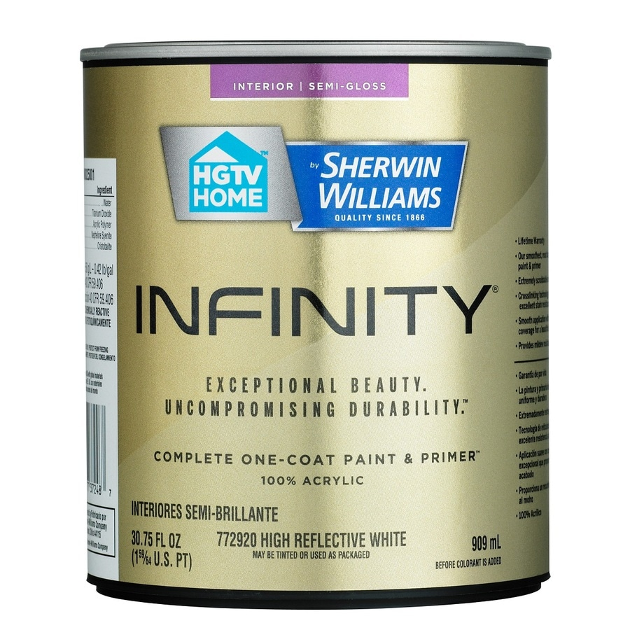HGTV HOME by Sherwin-Williams Infinity White Semi-gloss Acrylic Interior Paint and Primer in One (Actual Net Contents: 30.75-fl oz)