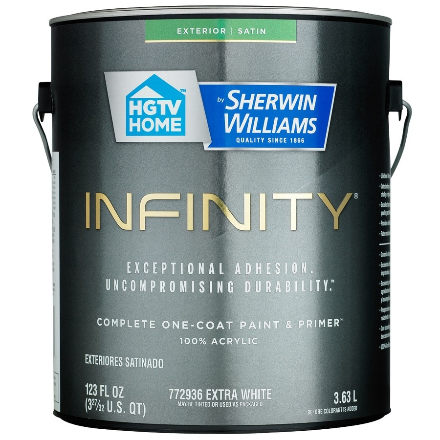 HGTV HOME by Sherwin-Williams Infinity Tintable Satin Acrylic Exterior Paint (Actual Net Contents: 123 Fluid Oz.)