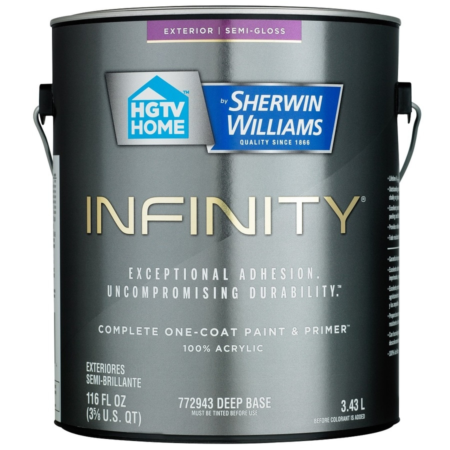 HGTV HOME by Sherwin-Williams Infinity Tintable Semi-Gloss Acrylic Exterior Paint (Actual Net Contents: 116 Fluid Oz.)