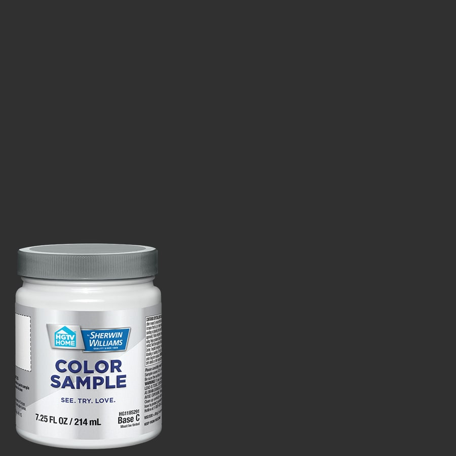 HGTV HOME by Sherwin-Williams (SW6990) CAVIAR Interior Satin Paint Sample (Actual Net Contents: 8-fl oz)