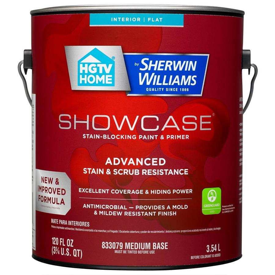 HGTV HOME by Sherwin-Williams Showcase Tint Base Flat Acrylic Interior Paint and Primer in One (Actual Net Contents: 118-fl oz)