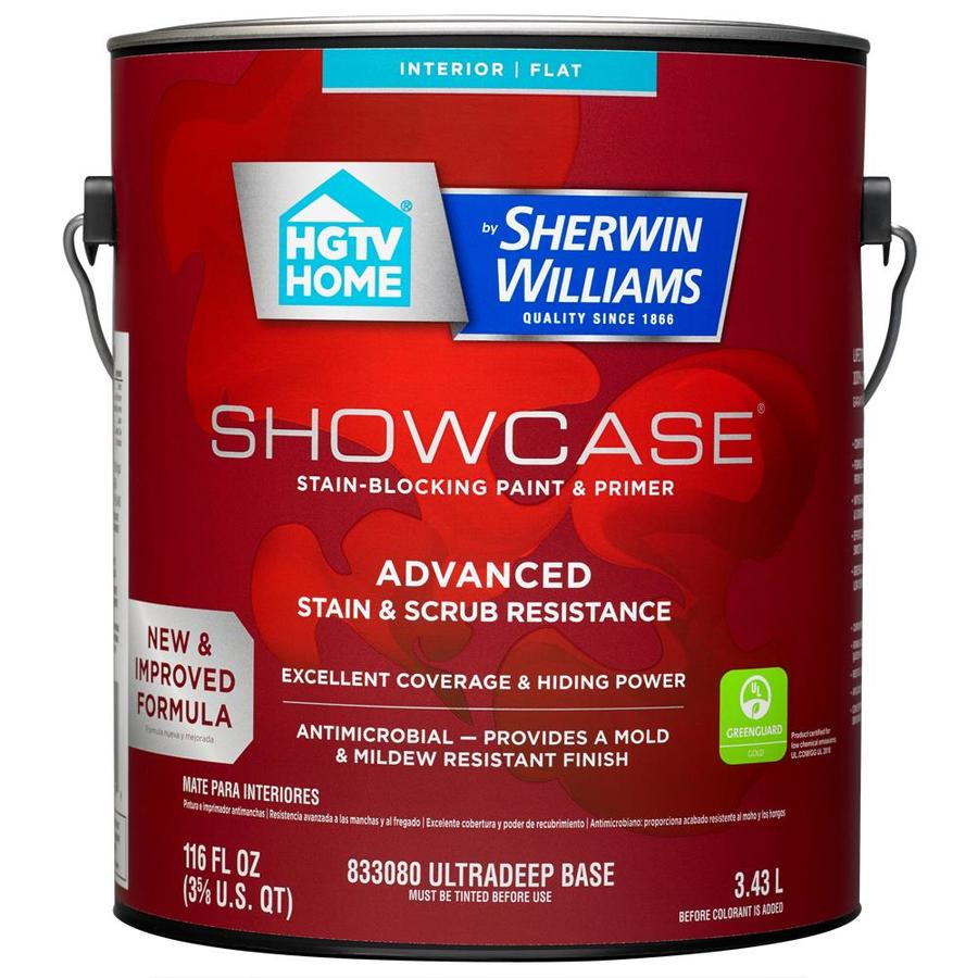 HGTV HOME by Sherwin-Williams Showcase Tint Base Flat Acrylic Interior Paint and Primer in One (Actual Net Contents: 116-fl oz)