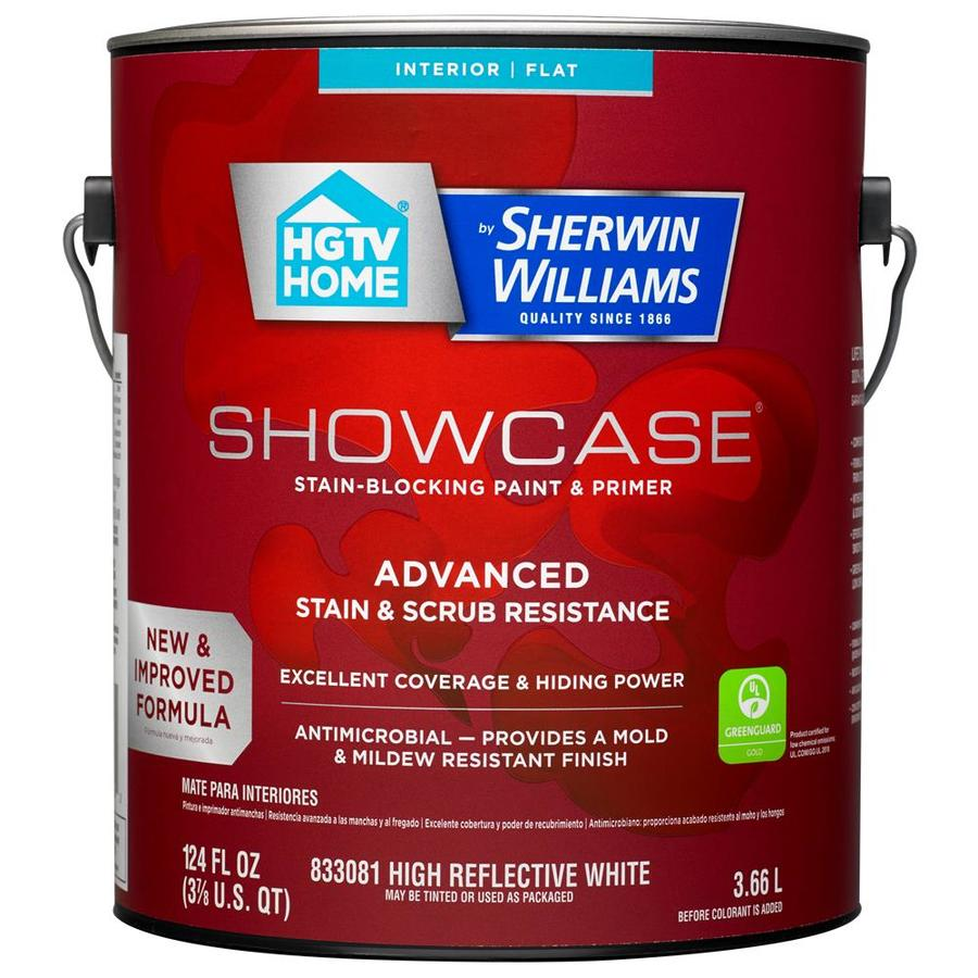 HGTV HOME by Sherwin-Williams Showcase Tint Base Flat Acrylic Interior Paint and Primer in One (Actual Net Contents: 124-fl oz)