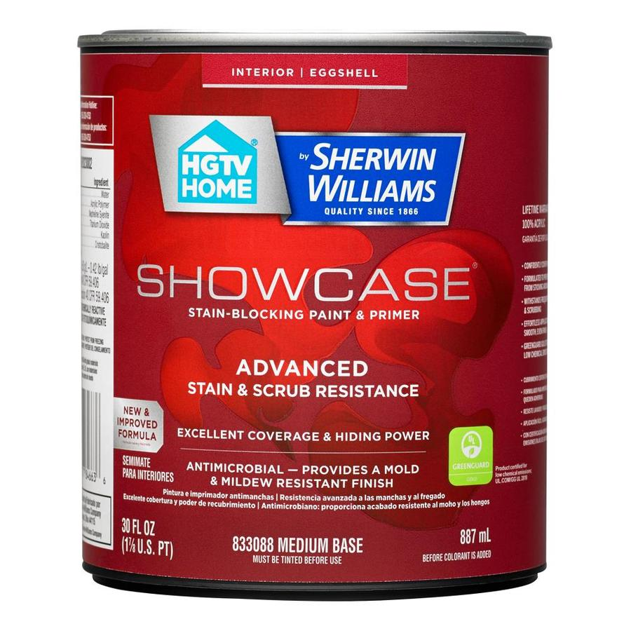 HGTV HOME by Sherwin-Williams Showcase Tint Base Eggshell Acrylic Interior Paint and Primer in One (Actual Net Contents: 29.5-fl oz)