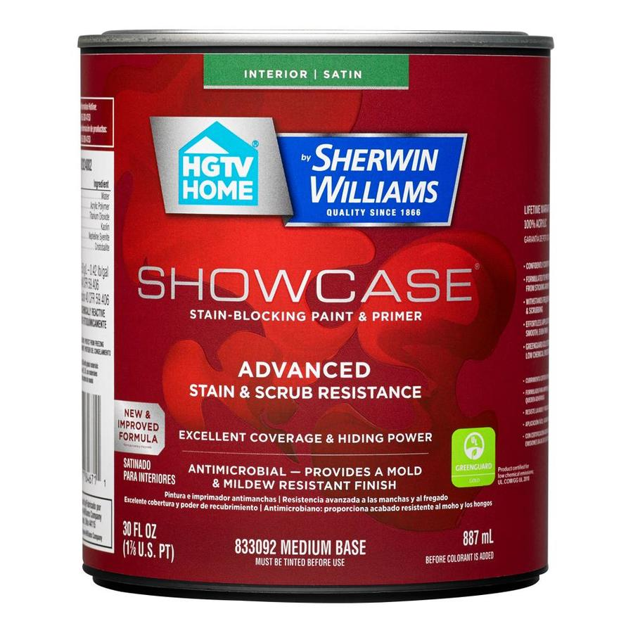 HGTV HOME by Sherwin-Williams Showcase Tint Base Satin Acrylic Interior Paint and Primer in One (Actual Net Contents: 30-fl oz)