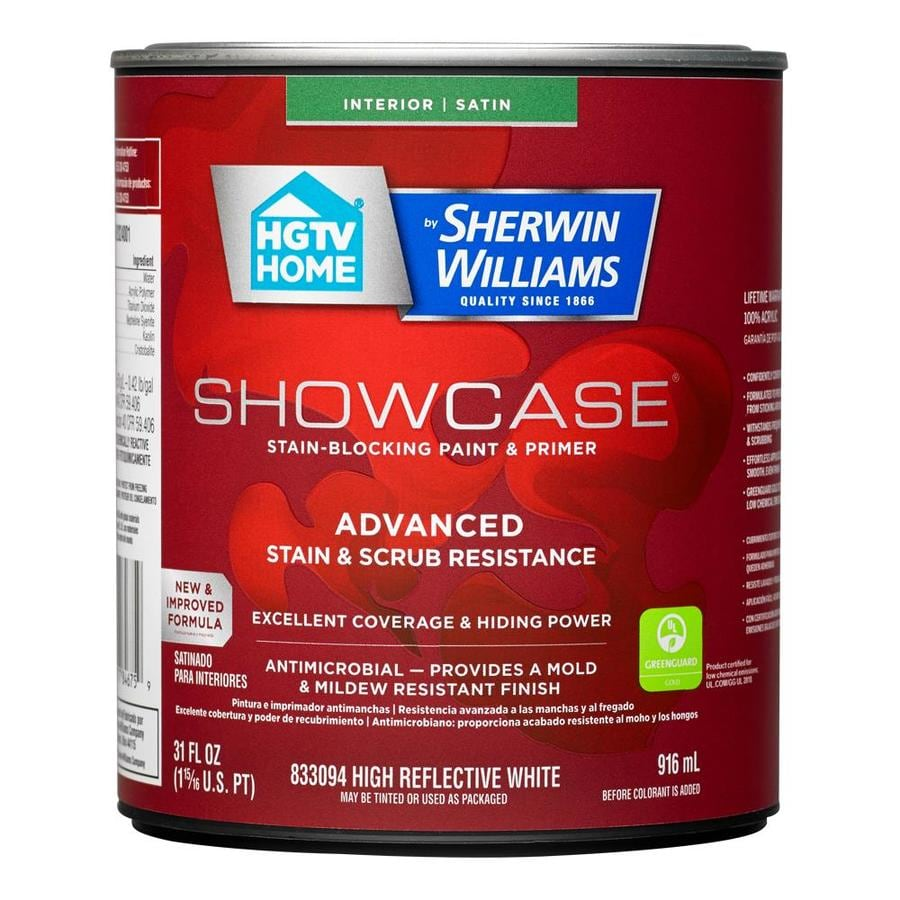 HGTV HOME by Sherwin-Williams Showcase Tint Base Satin Acrylic Interior Paint and Primer in One (Actual Net Contents: 31-fl oz)