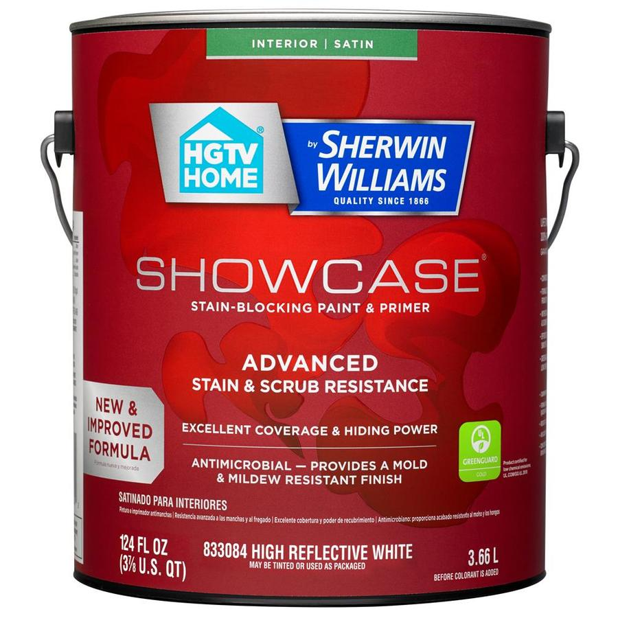 HGTV HOME by Sherwin-Williams Showcase Tint Base Satin Acrylic Interior Paint and Primer in One (Actual Net Contents: 124-fl oz)