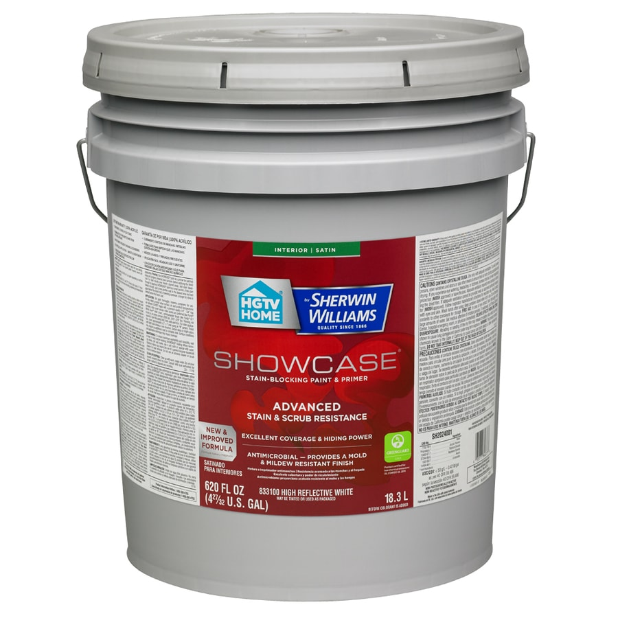 HGTV HOME by Sherwin-Williams Showcase Tint Base Satin Acrylic Interior Paint and Primer in One (Actual Net Contents: 620-fl oz)