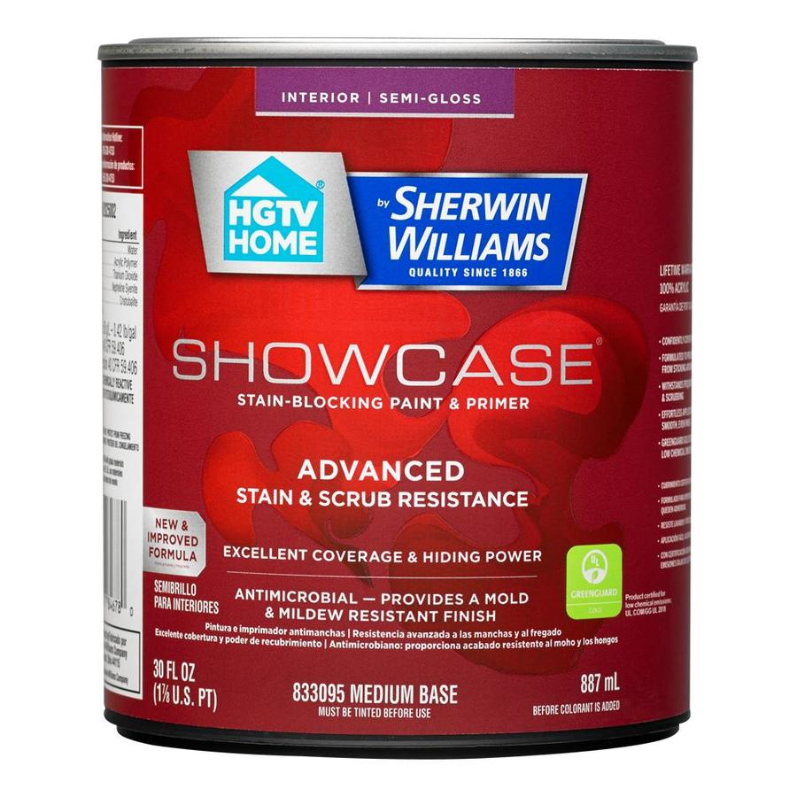 HGTV HOME by Sherwin-Williams Showcase Tint Base Semi-gloss Acrylic Interior Paint and Primer in One (Actual Net Contents: 30-fl oz)