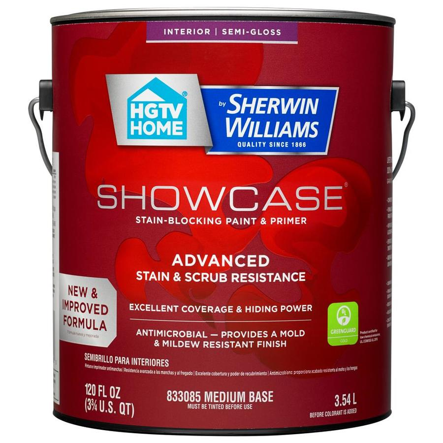HGTV HOME by Sherwin-Williams Showcase Tint Base Semi-gloss Acrylic Interior Paint and Primer in One (Actual Net Contents: 120-fl oz)