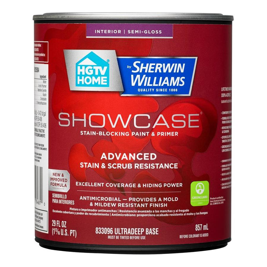HGTV HOME by Sherwin-Williams Showcase Tint Base Semi-gloss Acrylic Interior Paint and Primer in One (Actual Net Contents: 29-fl oz)