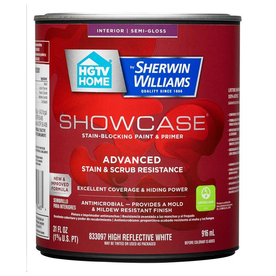 HGTV HOME by Sherwin-Williams Showcase Tint Base Semi-gloss Acrylic Interior Paint and Primer in One (Actual Net Contents: 31-fl oz)