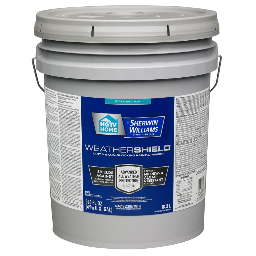 HGTV HOME by Sherwin-Williams Weathershield Tintable Flat Acrylic Exterior Paint (Actual Net Contents: 620-fl oz)