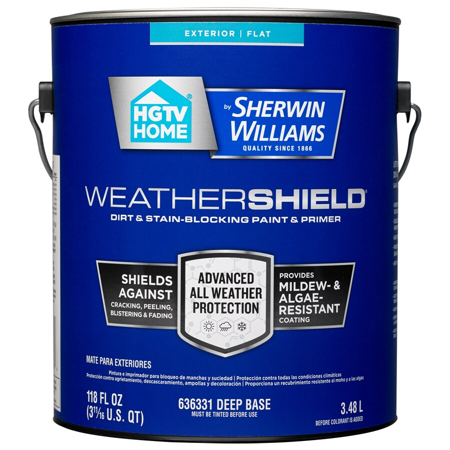 HGTV HOME by Sherwin-Williams Weathershield Tintable Flat Acrylic Exterior Paint (Actual Net Contents: 118-fl oz)