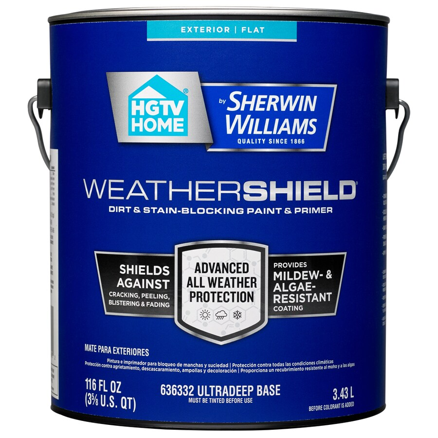 HGTV HOME by Sherwin-Williams Weathershield Tintable Flat Acrylic Exterior Paint (Actual Net Contents: 116-fl oz)