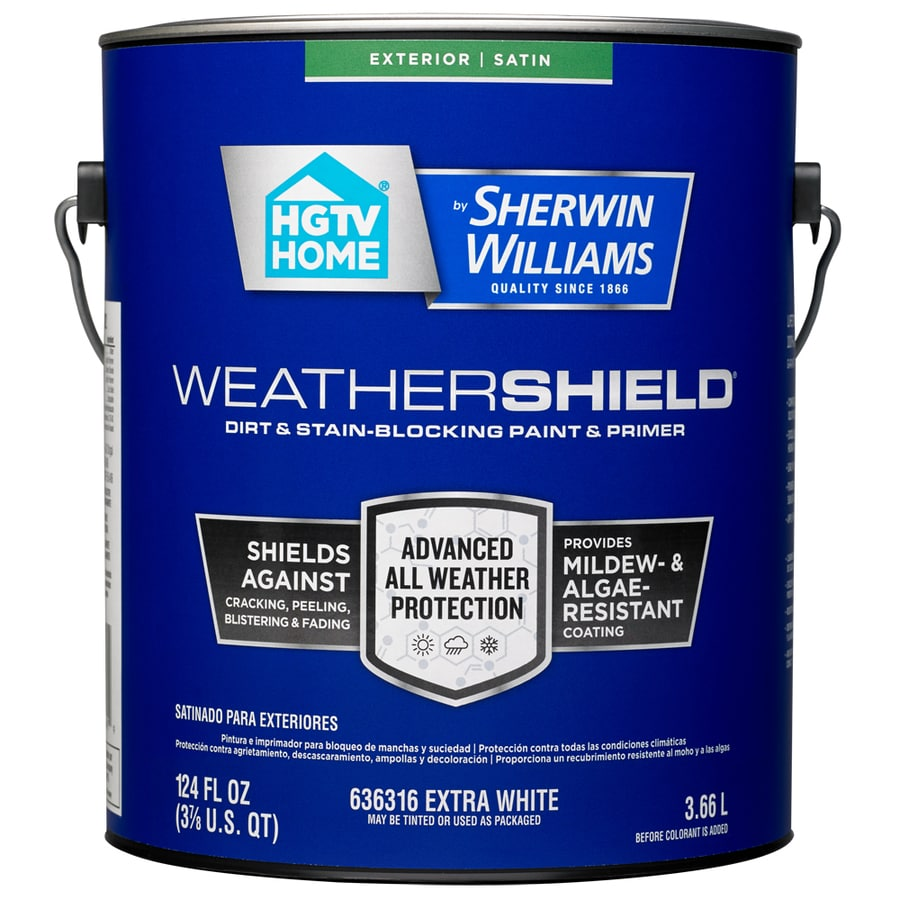 HGTV HOME by Sherwin-Williams Weathershield Tintable Satin Acrylic Exterior Paint (Actual Net Contents: 124-fl oz)