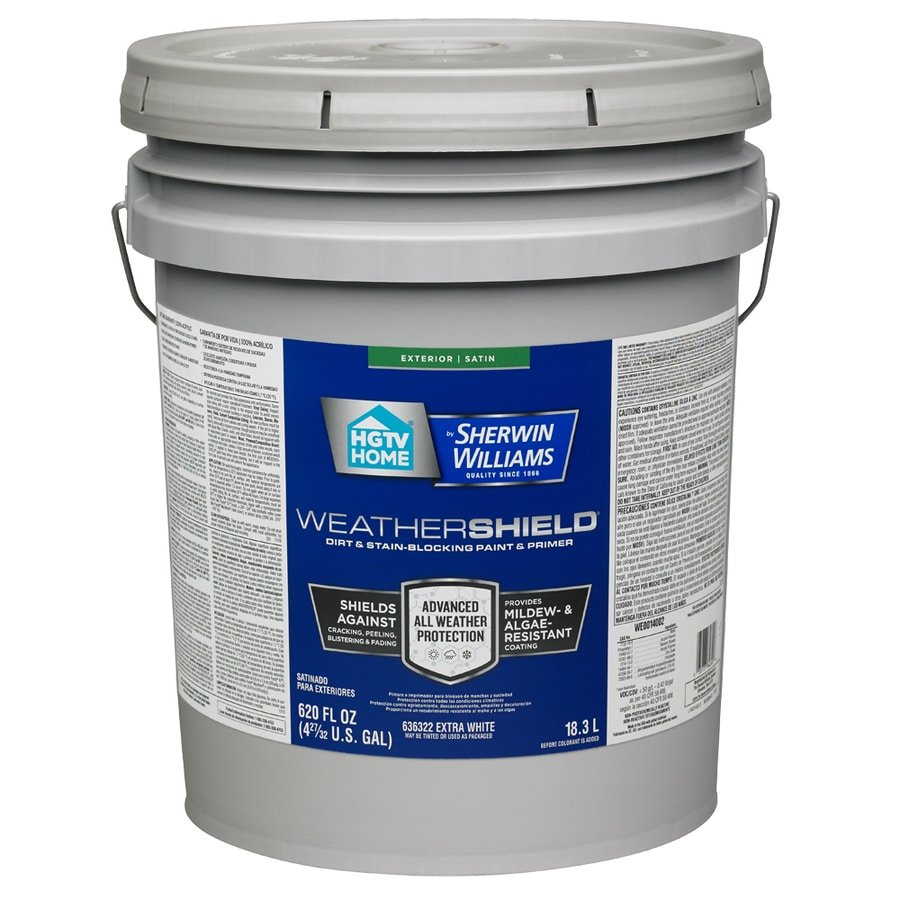 Shop Hgtv Home By Sherwin Williams Weathershield Tintable Satin Acrylic Exterior Paint Actual