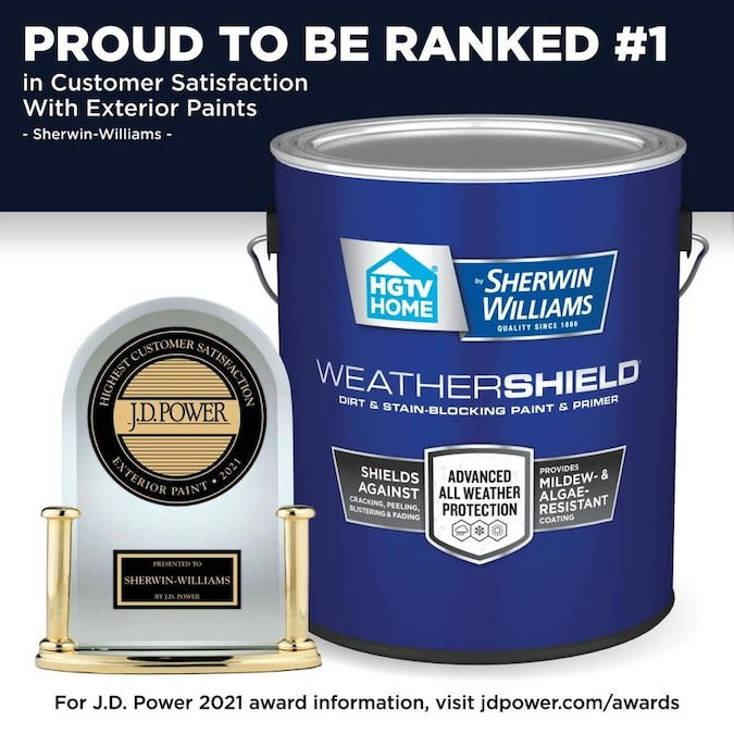 Hgtv Home By Sherwin Williams Weathershield Extra White Satin Exterior Tintable Paint 5 Gallon In The Exterior Paint Department At Lowes Com