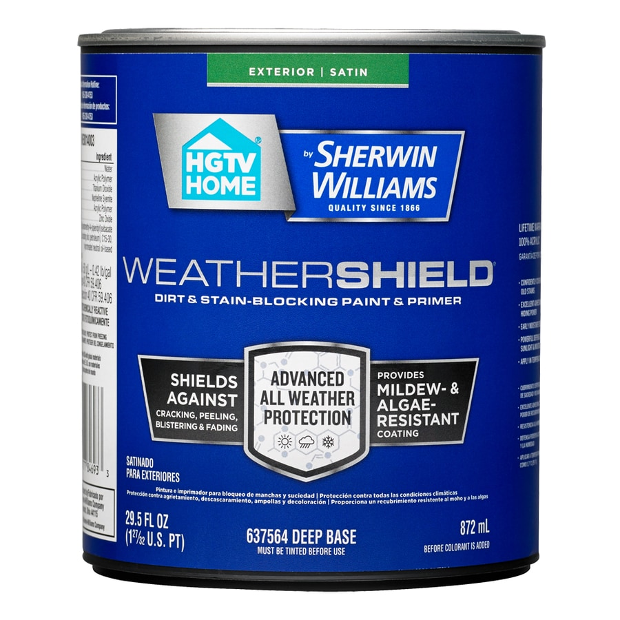 HGTV HOME by Sherwin-Williams Weathershield Tintable Satin Acrylic Exterior Paint (Actual Net Contents: 29.5-fl oz)