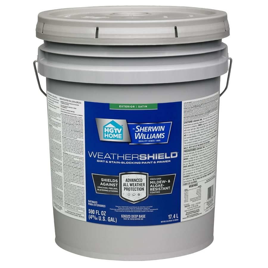 HGTV HOME by Sherwin-Williams Weathershield Tintable Satin Acrylic Exterior Paint (Actual Net Contents: 590-fl oz)