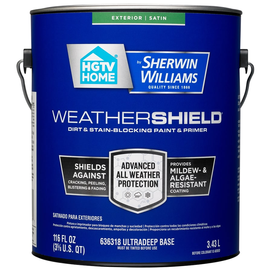 HGTV HOME by Sherwin-Williams Weathershield Tintable Satin Acrylic Exterior Paint (Actual Net Contents: 116-fl oz)