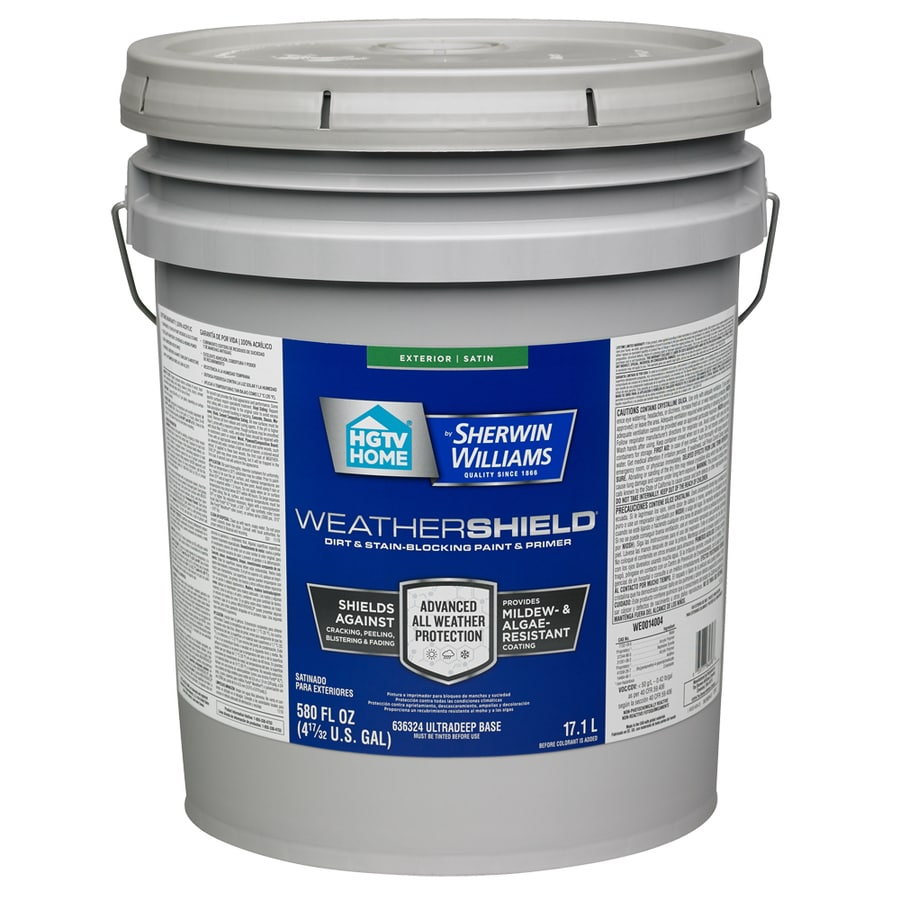 HGTV HOME by Sherwin-Williams Weathershield Tintable Satin Acrylic Exterior Paint (Actual Net Contents: 580-fl oz)