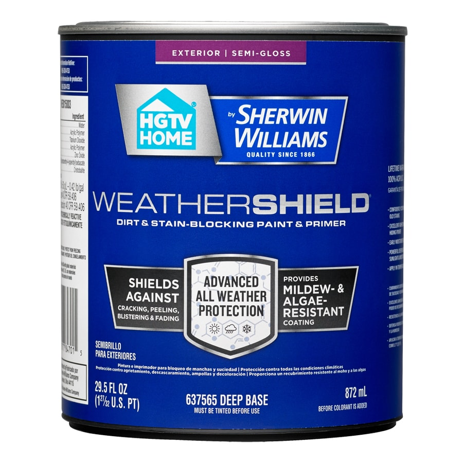 HGTV HOME by Sherwin-Williams Weathershield Tintable Semi-Gloss Acrylic Exterior Paint (Actual Net Contents: 29.5-fl oz)