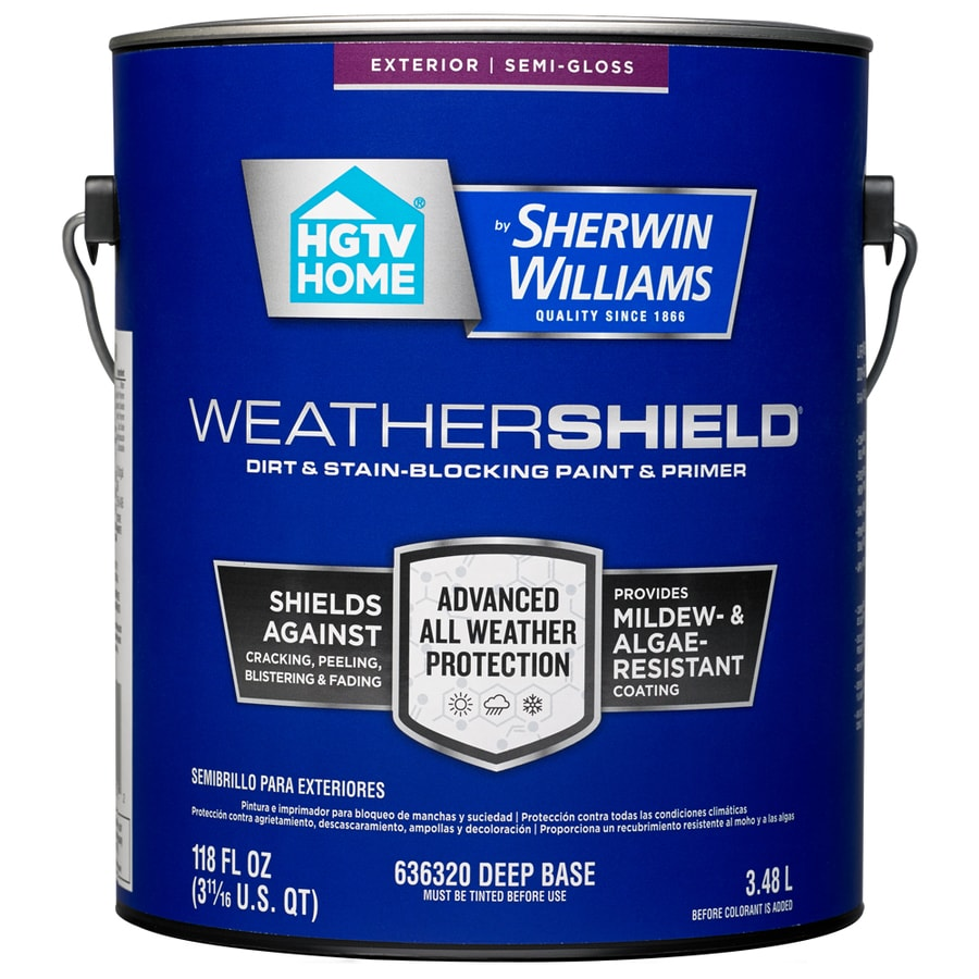 HGTV HOME by Sherwin-Williams Weathershield Tintable Semi-Gloss Acrylic Exterior Paint (Actual Net Contents: 118-fl oz)